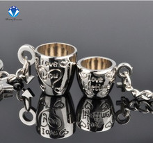 1Pair Couple Keychain Cups Key Ring Silver Plated Lovers Love Key Chain Souvenirs Valentine's Day gift C362