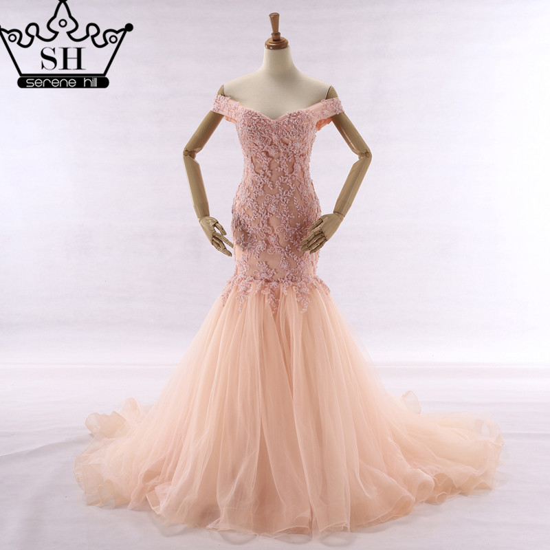 New Style Sexy Mermaid Wedding Dress Pink Color Beading Lace Sleeveless Bride Dress 2017 Real Picture Serene Hill(China)