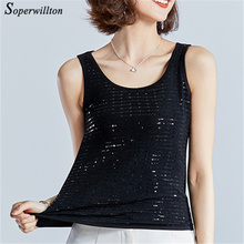 Buy 2018 Summer Sepuin Tank Top Women Blouse Sleeveless Shirts Casual Cool Sexy Lady velvet Sepuined Halter Tops M-4X #C16