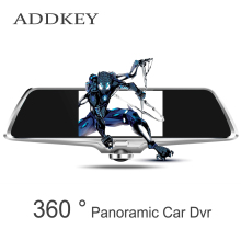 ADDKEY 360 degree panorama car dvr camera 5 inch IPS touch screen dual lens rearview mirror dvr night vision recorder dash cam
