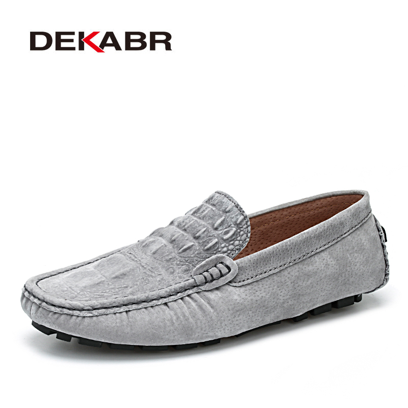 DEKABR Casual Men Leather Shoes Crocodile Style Footwear Loafers High Quality Brand Flats Soft Moccasins Driving Men Shoes<br>
