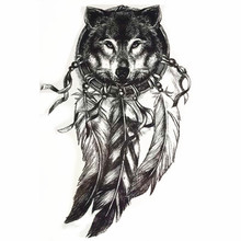 TOMTOSH 1PC Black Wolf Dream Feather Flowe Tattoo Sticker Ladies Men 3D Art Arm Temporary Tattoo Sticker(China)