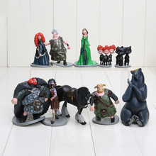 10pcs/lot Moive Brave Toy doll Merida Black Bear PVC Action Figures Collections Toy