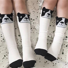 1-5Y Kids Knee High Socks Boys Girls Cotton Animal 3D Dog Pattern In Tube Socks Children Baby Footwear White Sox