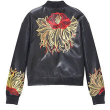 2017 Autumn Winter New Embroidery PU Jackets Base Ball BF Zipper Long Sleeve Black Faux Leather Pockets Casual Streetwear Coats