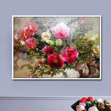 5D diy Diamond Painting Peony Flower Restaurant Wall Decor Landscape Embroidery Resin Square Rhinestones Sets Home Decor