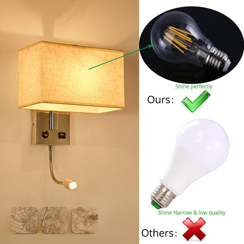 Usb Led Wall Lights E27 Indoor Decorative Modern Cube Bedside Lamp