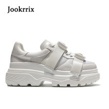 Jookrrix New Spring Fashion Lady Casual White Shoes Women Sneaker Black Leisure Heighten Platform Shoe Soft Cross-tied All Match(China)