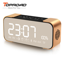TOPROAD Bluetooth Speaker Wireless Stereo Aluminum Parlante Portable FM Radio Altavoz Support Time clock Alarm clock TF Line in