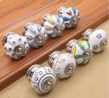 Wholesale Modern Ceramic Furniture Handle and Pulls Hand-painted Cabinet Drawer Pulls(China)