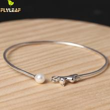 925 Sterling Silver Shell Imitation Pearls Cat Open Bracelets & Bangles For Women High Quality Cute Girl Sterling-silver-jewelry