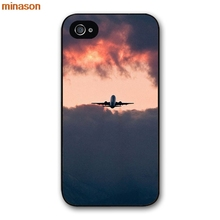 minason Plane With Sunset Glow Theme Cover case for iphone 4 4s 5 5s 5c 6 6s 7 8 plus samsung galaxy S5 S6 Note 2 3 S5509(China)