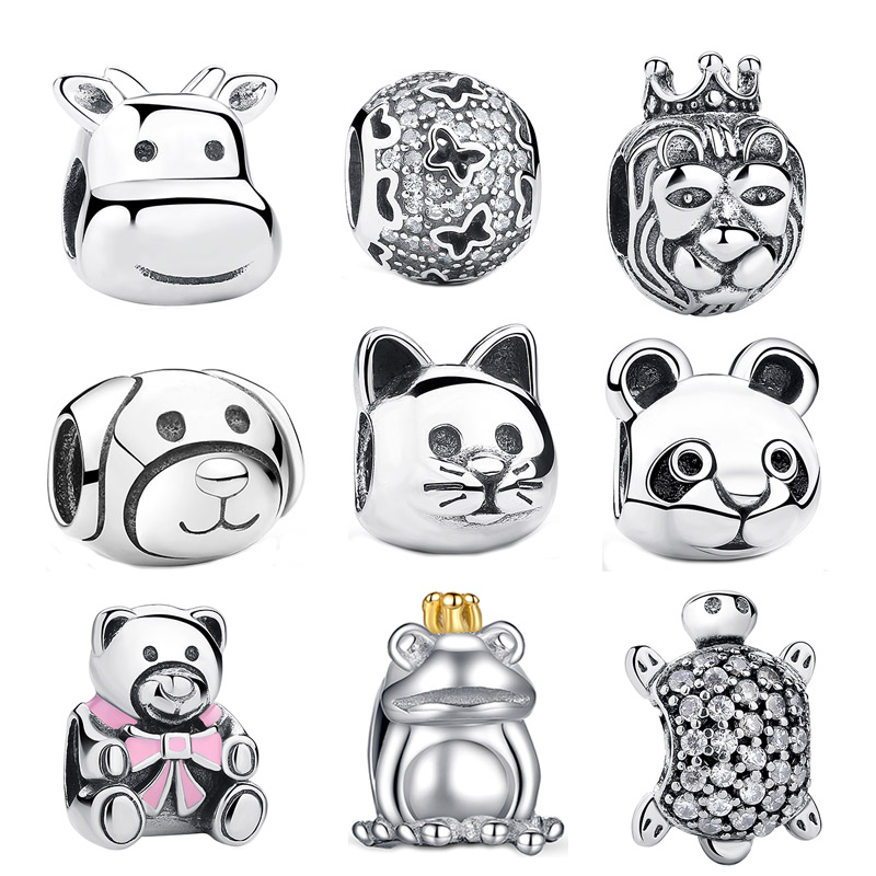 2017 Gift 925 Sterling Silver Lovely Cat Animal Charms Fit Pandora Original Charm Bracelets Beads amp Jewelry Making S053(China (Mainland))