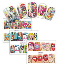 1Sheet Fashion Sticker Full Cover Lips Cute Style Water Transfer Tips Nail Art Decorations SABN349-360(China)