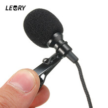 LEORY Mini 3.5mm Jack Microphone Lavalier Tie Clip Microphones Microfono Mic For Speaking Speech Lectures 2.4m Long Cable(China)