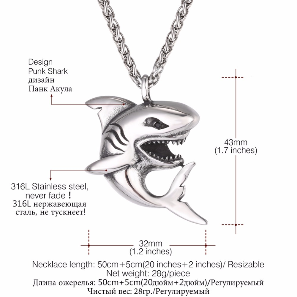 """Punk Shark"" Stainless Steel Shark Necklace / Chain 1"