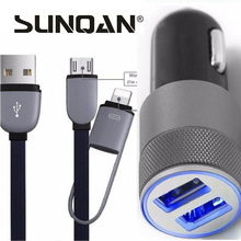 2 Port 3.1A Dual USB Cell Phone Car Chargers + 2in1 8-pin & Micro USB to USB Cable For iPhone 7 6 plus 5s 4s For Samsung Xiaomi