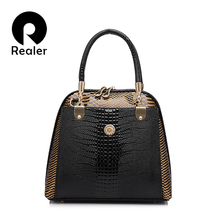 REALER brand fashion women's shell bag high quality designer embossed handbag crocodile pattern tote bag ladies handbags
