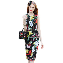 Women Spring Summer Dresses 2017 High Quality Runway Dress O-Neck Sleeveless Floral Printed Slim Pencil Dress SAD839N(China)