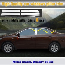 car stick stainless steel glass window garnish pillar column 6pcs for Toyota Corolla sedan 2007 2008 2009 2010 2011 2012 2013(China)