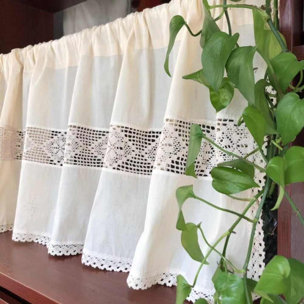 American Country Style Solid Cotton Linen Splice Beige Crochet Lace Edge Coffee Curtain Multi-function Decorative Short Curtain