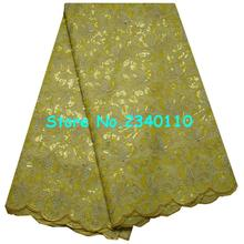 Special Knitted High quality Gold Sequin African Double organza lace with hand cut ,Swiss Cotton Organza with Stones!YD2415