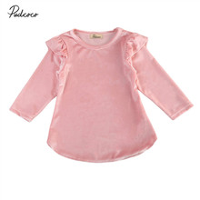 Pudcoco Spring Autumn Baby Girls Velvet Dress Long Sleeves Ruffles Dress Toddler Girl Clothing Korean Style Infant Pink Dresses