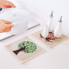4Pcs Vintage Coasters Burlap Table Mat Simple Natural Coasters Placemat Fabric Pad Dining Table Place Mat Brown For Home Decor