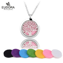 Exquisite Life Tree Stailess Steel Aromatherapy Pendant Essential Oil Diffuser Floating Locket Necklace Women Jewelry With Pads