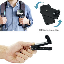 360 Degree Rotating Backpack Clamp Mount Belt Buckle Hat Clip for GoPro Hero 4 3+ 3 2 1 Hero Series Xiaomi Yi camera accessories