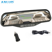 ANLUD Wireless Bluetooth Handsfree Car Kit Rearview Mirror with FM Transmitter Support SD Card U Disk Bluetooth MP3 Player(China)