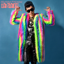 Men Multicolor Feather Long Fashion Jacket Coat Stage Wear Show Dance Male Singer Bar Nightclub DJ Prom Costume Outerwear Outfit