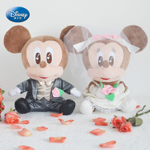 "Disney Mickey Minnie Mouse 12""inches Simulation wedding bride and groom doll ornaments Plush Stuffed Toy 100% authentic quality"