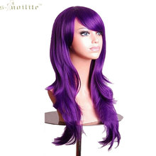 "SNOILITE 23"" Full Cosplay Wig Hallowee Christmas Women Wig Synthetic Hair Long Curly Purple Soft & Thick Natural Black Blonde(China)"