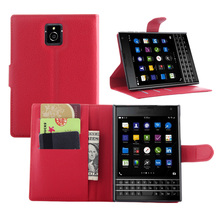 Litchi Texture Leather Case for Blackberry Passport Q30 Flip Magnetic Cover Case Wallet Stand Style With Card Slot