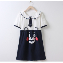 Japanese Style Women Fashion Cute Bear Print Peter Pan Collar Short Sleeve Dresses Tie Spliced A-Line Mini Kawaii Slim Dresses