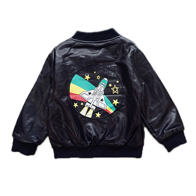 2017 Children Clothing Airplane Printed Faux Leather Jackets Coat  Kids Motorcycle Tops Fleece Winter Thicking Baby Boy Outwaer<br><br>Aliexpress