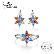 JewelryPalace Flower 3.7ct  Natural Amethyst Citrine Garnet Peridot Swiss Blue Topaz Clip Earrings Ring Sets 925 Sterling Silver