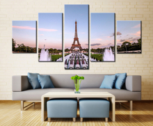 5 Pieces HD Painting Eiffel Tower Paris Square Fountain Modern For Modern Decorative Bedroom Living Room Home Wall Art Decor(China)
