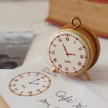Newest Classic Clock Design Seal Stamp Seal Signet DIY seal alarm clock small wooden stamps(China)