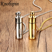Fashion men's Jewelry Stainless steel Perfume bottle pendant Gold-color Trendy Removable Glass Necklaces & pendants