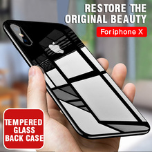 IIOZO Luxury Tempered Glass Phone Case for iphone X Anti-scratch High Transparency Full Glass Back Cover for iphone X 10(China)