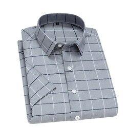 Unisplendor/летние мужские рубашки с короткими рукавами, клетчатая полосатая Мужская рубашка, мягкая дышащая мужская повседневная рубашка, мужс...