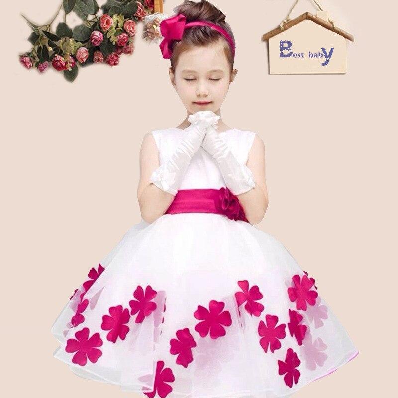 2017 HOT Girl Flower Dresses WHITE with Rose Petal Dress Wedding Easter Bridesmaid For Baby Children Toddler Teen Girls <br><br>Aliexpress