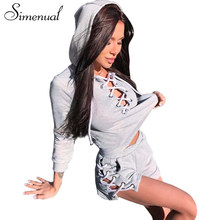 Simenual 2017 Autumn tracksuits sportswear costumes for women cropped hoodies shorts 2 piece set lace up grey women's tracksuit