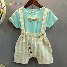 2PCS/2-6Years/Summer Baby Boys Suits Children Clothes Casual Green Blue T-shirt+Stripe Shorts Boutique Kids Clothing Sets BC1214(China)