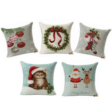 Merry Christmas Home Decor Cushion Cover Christmas Pillow Case Gifts Tree JOY Cotton Linen Throw Pillows Cover Home Car almofada(China)