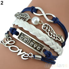 Attractive Wome Men Mix Multilayer Wig Love bracelet Angel Wings Owl Deathly Hallows Chain 753G