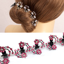 LNRRABC Fashion 6 Pcs/Set Rhinestones Flower Women Hair Clips Hair Claws Bridal Jewelry Headwear Hair Accessories(China)