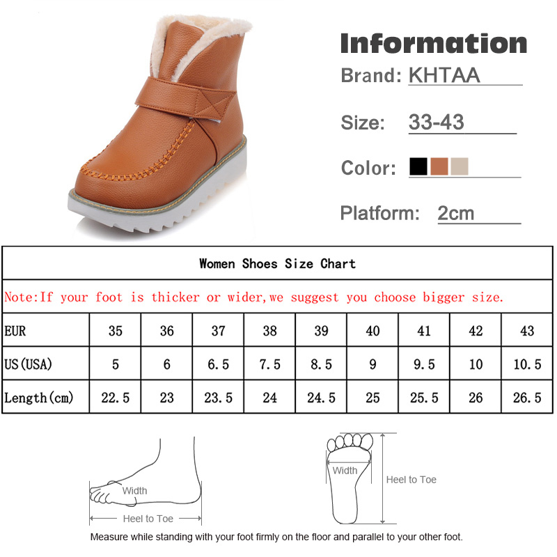 KHTAA Ladies Winter Warm Plush Hook Loop Ankle Snow Boots Women's Slip On Sewing Flat Black Platform Fur Shoes Plus Size 33-43